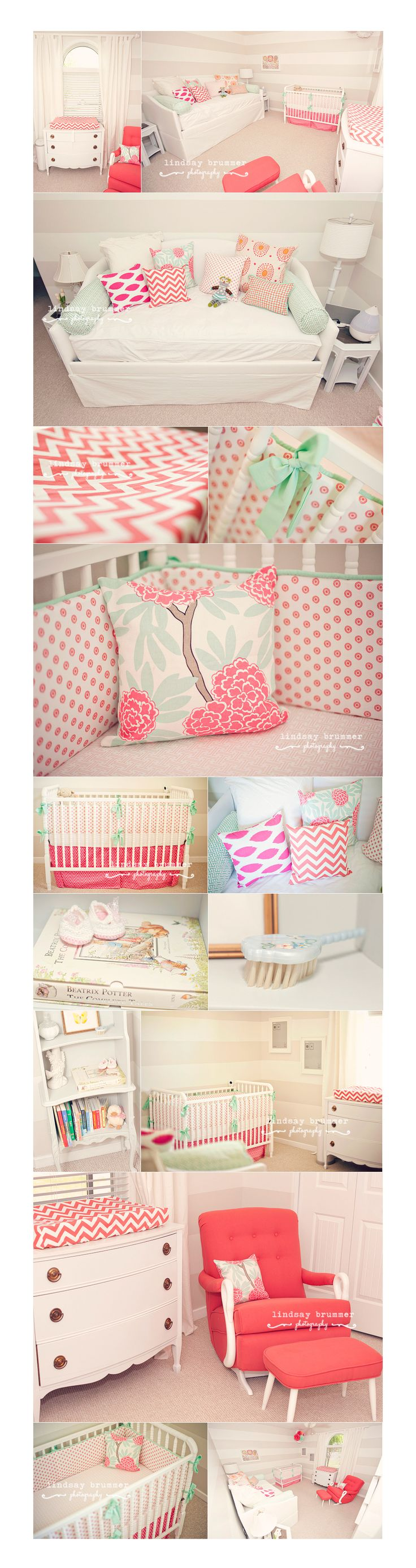 baby girl nursery in coral and lots of prints