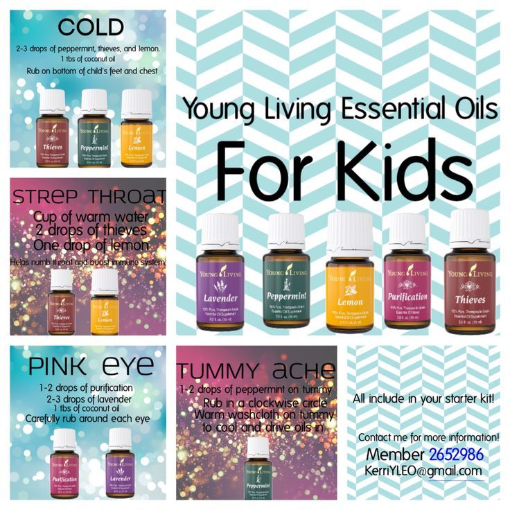 Young living essential oils for kids! Helps relieve strep throat, tummy aches, pink eye, and colds!