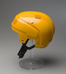 Stackhat protective sports helmet, 1982. Australia was the first country in the world to introduce uniform national mandatory bicycle helmet legislation, beginning in 1990. The Stackhat was one of the first helmets designed in Australia to comply with these strict standards. Gift of Rosebank Products Pty Ltd, 1987. 87/1040D