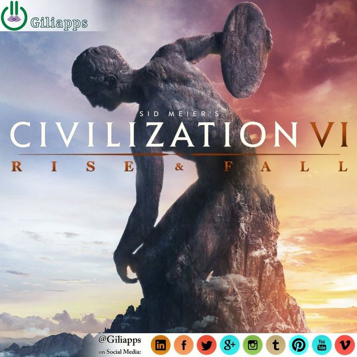 Sid Meier's Civilization VI: Rise and Fall is the first official expansion pack for the turn-based strategy video game Civilization VI. It will be released on February 8, 2018 in North America. The game will add new features, civilizations, and leaders. .. ● Read Full Article: giliapps.com #giliapps #game #gamer #gaming #video_game #trailer #requirements #civilization_vi