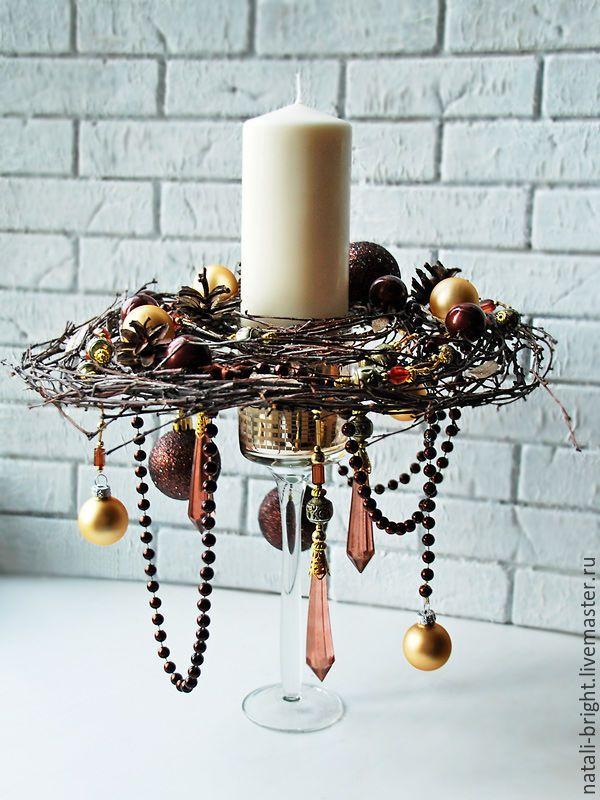 Купить Новогодняя композиция со свечой - интерьерная композиция, новогодняя композиция, подарок на новый год