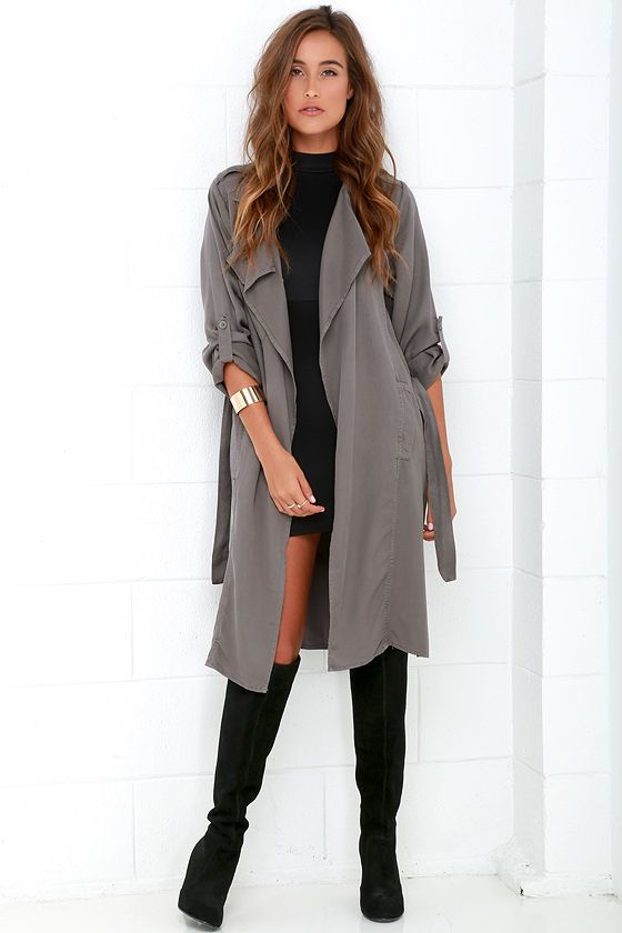 Black Swan Emma Dark Grey Trench Coat