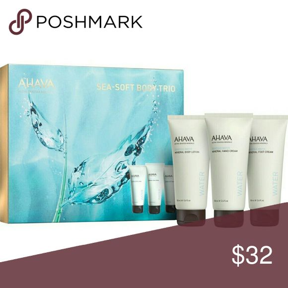 NIB, AHAVA Mineral Body Trio Set Over a $55.00 Value! Moisturize and revitalize your hands, feet and body with this hydrating mineral body trio. Powered by the exclusive Osmoter complex of replenishing minerals from the Dead Sea and natural plant extracts, this luxurious set is a must have for smooth and radiant skin all over. Approved for sensitive skin. Allergy Tested. Paraben Free. Contains: Mineral Hand Cream 100 ml Mineral Body Lotion 100 ml Mineral Foot Cream 100 ml Ahava Other