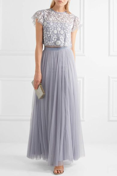 Needle and Thread, $245. Lavender tulle Concealed zip fastening along back 100% nylon; trim: 93% cotton, 7% nylon Dry clean Designer color: Dust Blue Imported