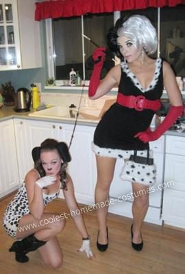Cruella DeVille and her dalmations costume...this site has so many homemade costume ideas!
