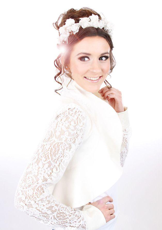 """Brautstolen & -boleros - MEKO """"Unisi"""" Bolero Spitze Hochzeit Creme Damen - ein Designerstück von meko bei DaWanda"""