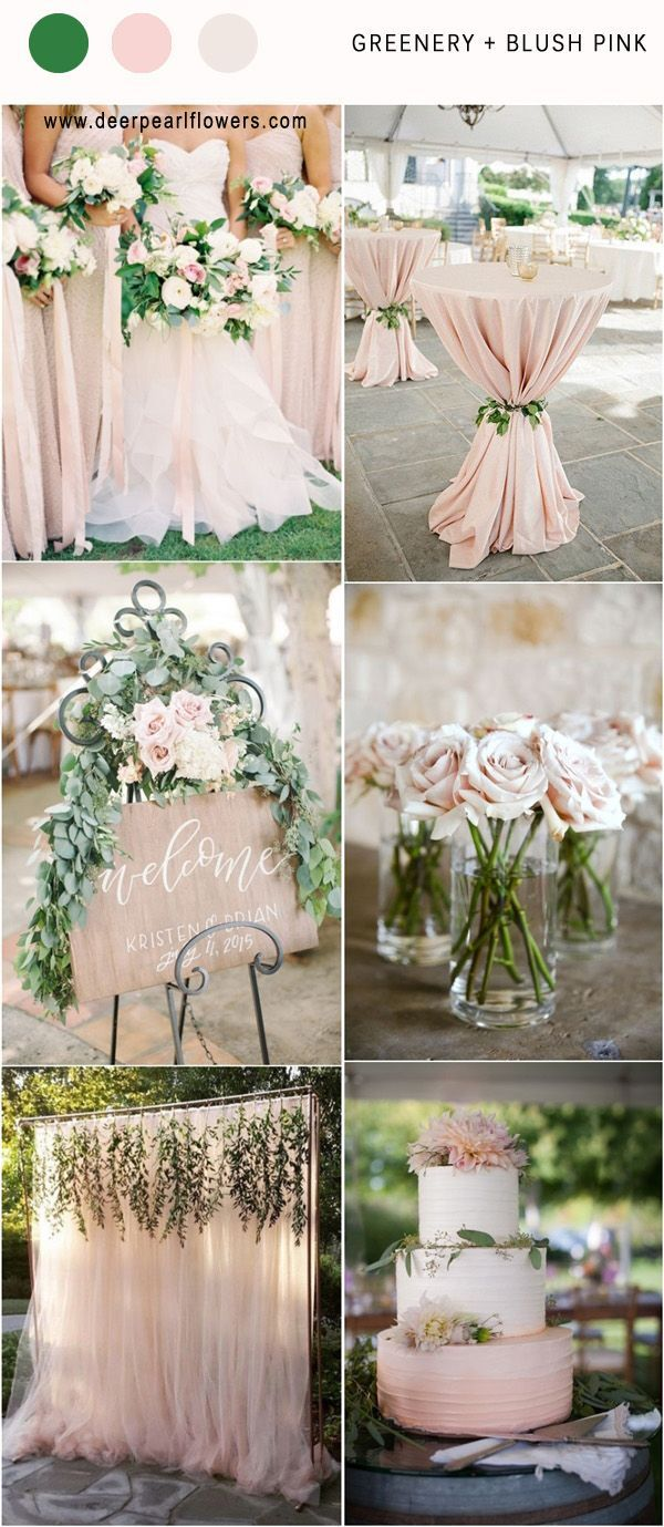 LOVE!! Green, Blush, Champagne, Silver, Brown   http://www.deerpearlflowers.com/greenery-wedding-color-palettes/ #weddingideas