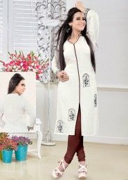 Party Wear Cream Rayon Embroidered Work Kurti