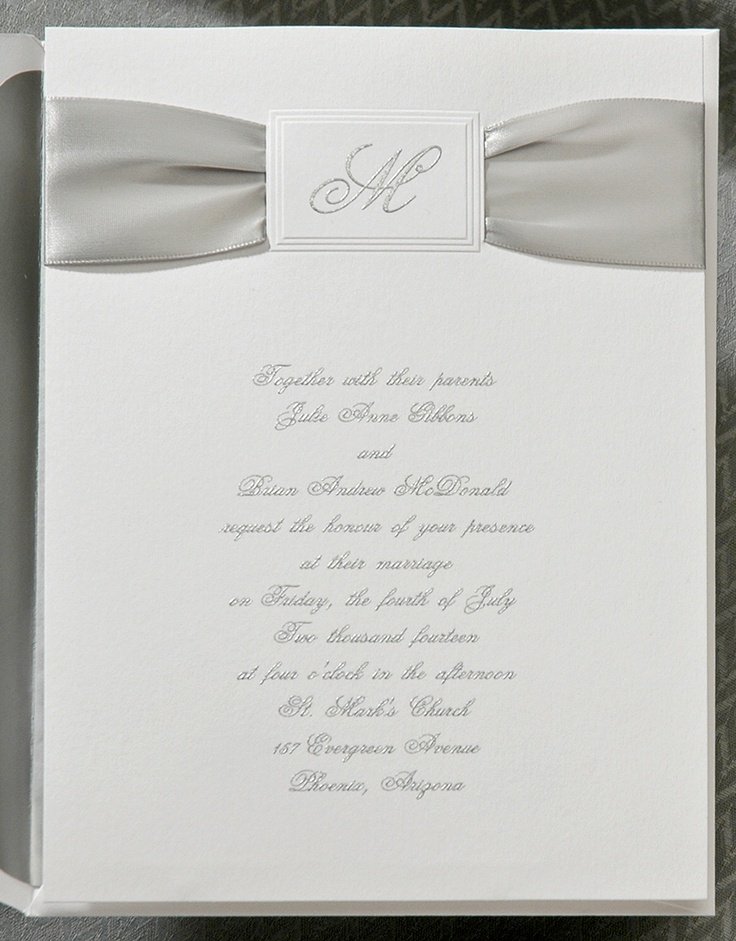 Classic Silver Satin Ribbon Is Included A Single Initial Featured Inside An Embossed Frame Wedding InvitationsSatin