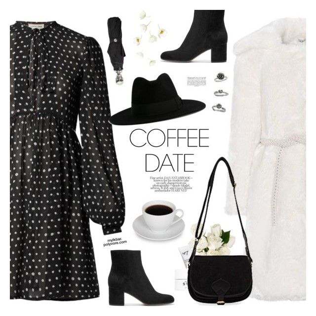 """""""Coffee Date"""" by mylkbar ❤ liked on Polyvore featuring Yves Saint Laurent, Shrimps, Gianvito Rossi, Rebecca White, Dr. Barbara Sturm, Avril Gau, Alexander McQueen and CoffeeDate"""