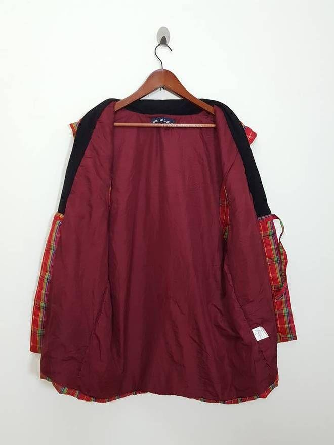 Kimono Japan Dragon Plaid Pattern Noragi Style Sleeveless Japan Traditional Jacket Plaid Pattern Noragi Style Sleeveless Japan Traditional Jacket Size US M / EU 48-50 / 2 - 1
