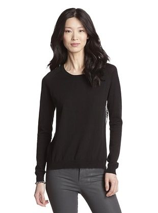 74% OFF Acrobat Women's Lace Back Cashmere Blend Sweater (Black)