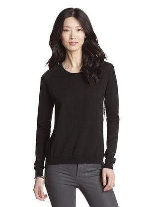 74% OFF Acrobat Women's Lace Back Cashmere Blend Sweater (Black)
