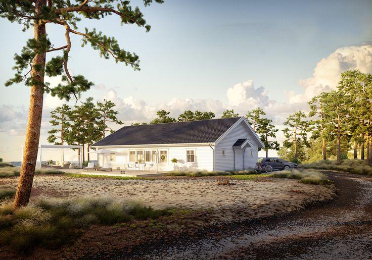 Tidlös 02: Klassiskt 1-planshus med entré med rejält utrymme för klädförvaring.