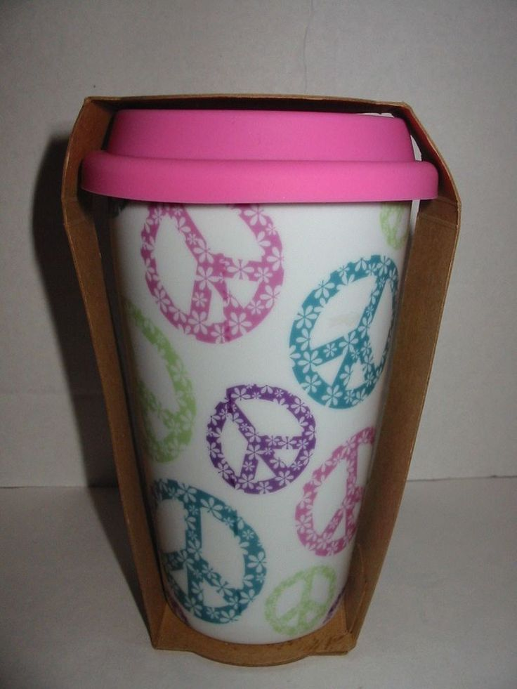 Ceramic Travel Coffe Mug Cup Silicone Pink Lid 10 Oz