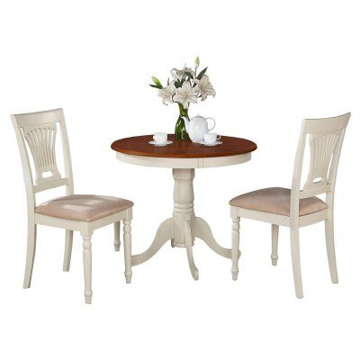East West Furniture Antique 3 Piece Pedestal Round Dining Table Mesmerizing Three Piece Dining Room Set Inspiration