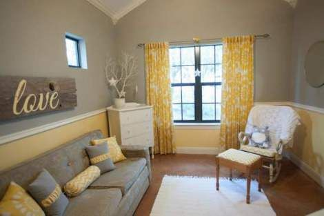 love the curtains and the wooden board with love written in yellow! DIY project??