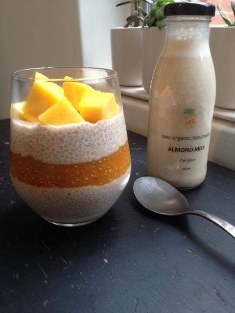 Apricot chia parfait with chai spice almond milk, topped with fresh mango.