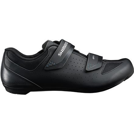 The Shimano SH-RP1 Cycling Shoes are great entry level road and spin class kicks. The dual hook and loop straps make it easy to dial in a custom fit and adjust on the fly. The lightweight glass fiber reinforced nylon sole rates as a 6 out of 12 on the Shimano stiffness scale so it transfers your power to the pedals efficiently, yet allows a little more give than the pool table stiff race options, keeping your feet comfortable.
