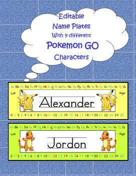 Editable Name Plates: 9 different Pokemon characters!  Adorable back to school must have, these bright plates are easy to edit. You must have publisher to edit/ font- school text lined . If you do not have publisher, please down load plates in a PDF file.