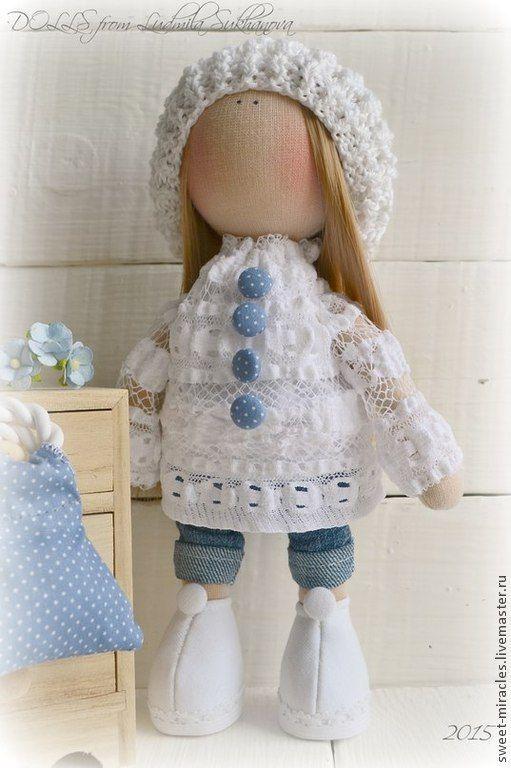 Купить Кукла-малыш МоднЯха - белый, джинсовый стиль, кукла ручной работы, кукла в подарок