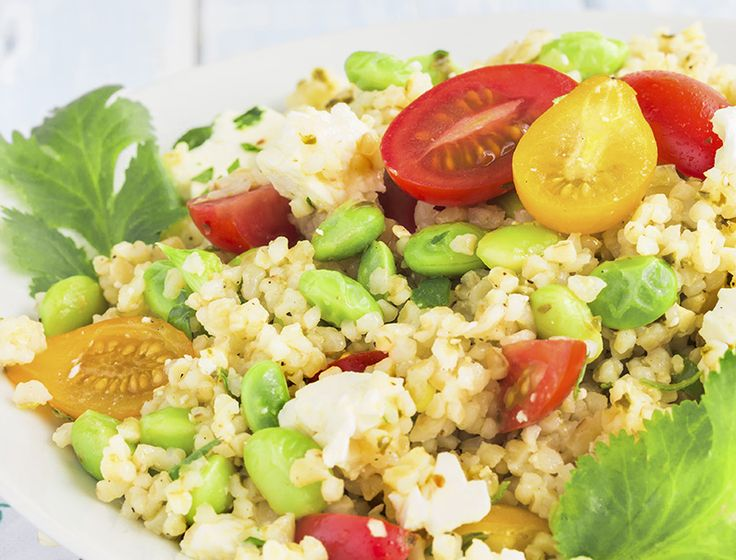 Tabbouleh With Edamame & Feta = tasty side dish! Perfect and light for spring! Added protein from edamame means this #soyswap could be a good lunch, too. #soyfoodsmonth