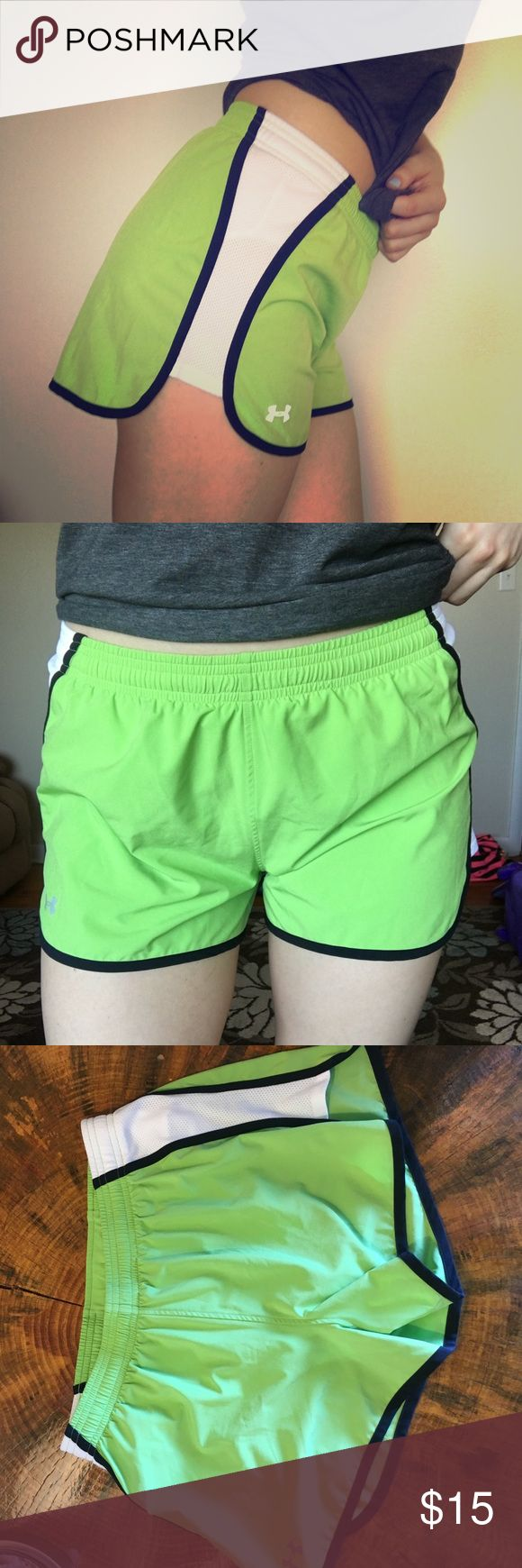 Lime Green UA shorts Cute lined under armour shorts. Lime green with white and black. Like new. Never worn. Under Armour Shorts