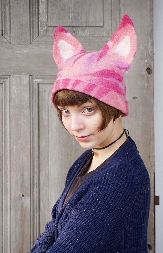 Unique felted pink Pussy hat, cat hat with ears, feminist pink hat for solidarity with Womens Rights March in Washington. Also unusual headdress for cat lovers!  This hat on the photo is available now and I can send it during 1-3 days! But the delivery time depends on the country and it can take from Poland one - two weeks up to a month. Head circumference for this hat is - ca 54 -56 cm (21 - 22 inches)  You can order another hat in your size, and Ill try to do it as soon as possible, but it…
