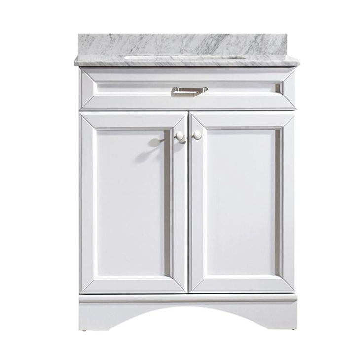Vinnova Naples 30 in. W x 22 in. D x 35 in. H Vanity in White with Marble Vanity Top in White with Basin-710030-WH-CA-NM - The Home Depot