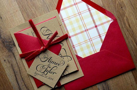Rustic Wedding Invitation, Wood, Plaid & Red Velvet Wedding Invite, Rustic Wedding Invite, Calligraphy Invitation - SAMPLE SET