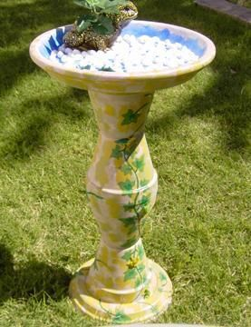Make a Bird Bath-- they have many examples, but this is the one I want to make. Just Terra cotta pots and bases, liquid nails, some paint and sealer.