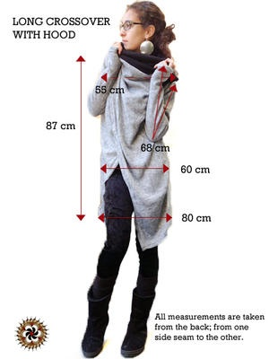 Gray #Crossover Cardigan with Hood - by #Bindidesigns $74
