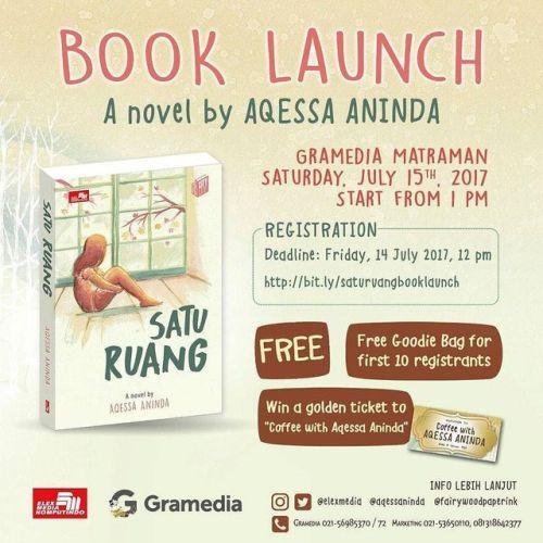 Satu Ruang Book Launch! A novel by @aqessaninda . Catat info... IFTTT Tumblr