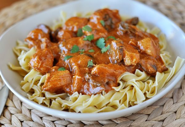 Paprika Chicken Stroganoff*** fast and easy. Sub 1 can tomato sauce for tomato paste and broth. 3 cups diced chicken, 2 cups sliced mushrooms