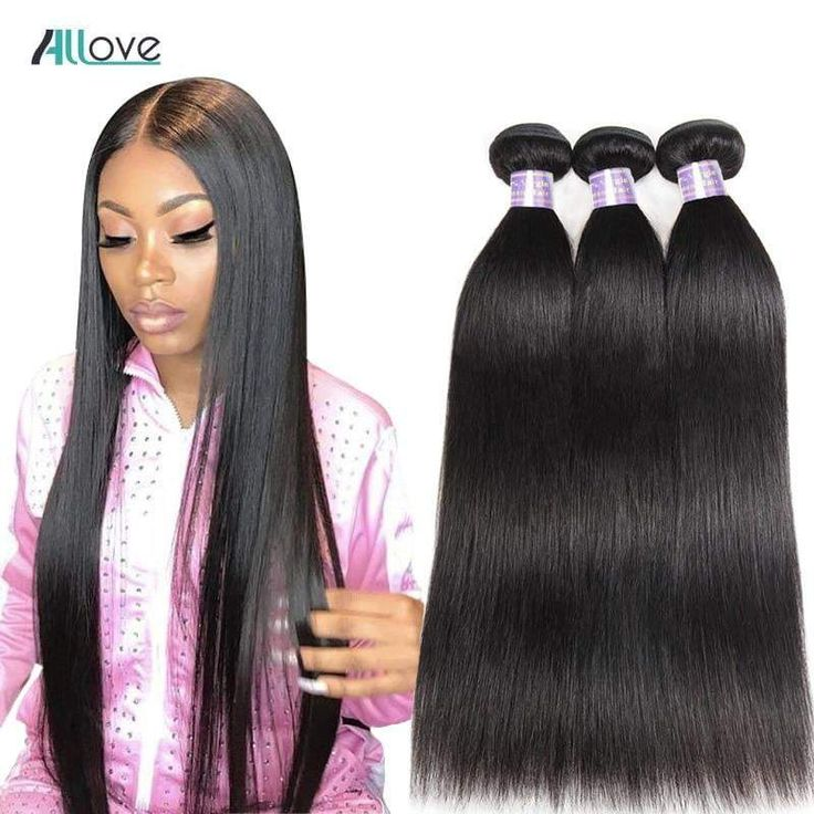Allove Straight Hair Bundles Brazilian Hair Weave Bundles 100% Huma…