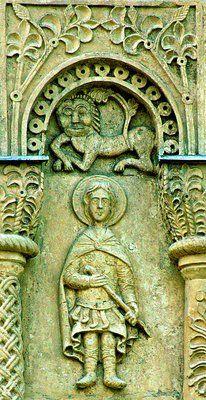Cathedral in Vladimir the Great Martyr Demetrius   monument of Vladimir-Suzdal white stone architecture.  Вмч. Димитрий Солунский. Рельеф юж. фасада. 1838 г.