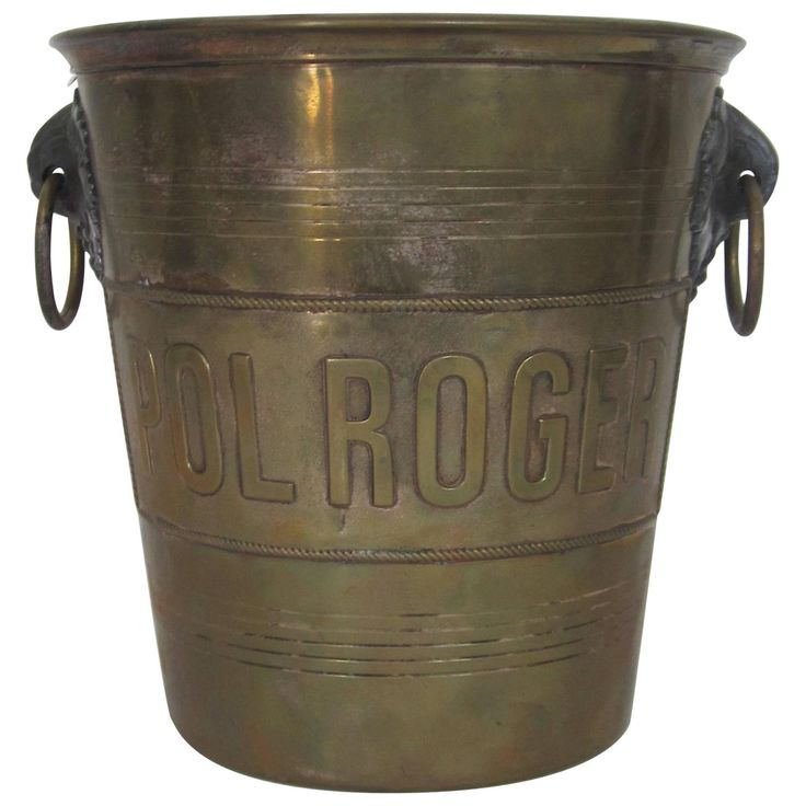Offered by ANNE DITTMEIER | Vintage Brass 'Pol Roger' Champagne Ice Bucket, Paris | From a unique collection of antique and modern wine coolers at https://www.1stdibs.com/furniture/more-furniture-collectibles/wine-coolers/