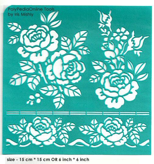 """Stencil plantillas patrón plantilla """"Gran rosas"""" 6 pulgadas/15 cm, reutilizable, adhesivo, flexible, para la arcilla polimérica, tela, madera, vidrio, fabricación de la tarjeta"""