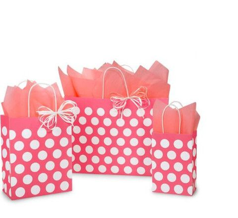 Coral Rose Polka Dot Shopping Bags – B2BWraps.com