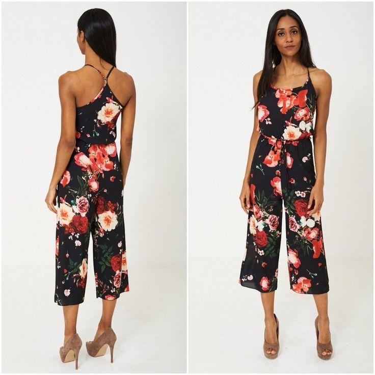 Floral Patterned Jumpsuit Culottes Summer Racer Back Cropped Sizes UK 6 8 10 NEW