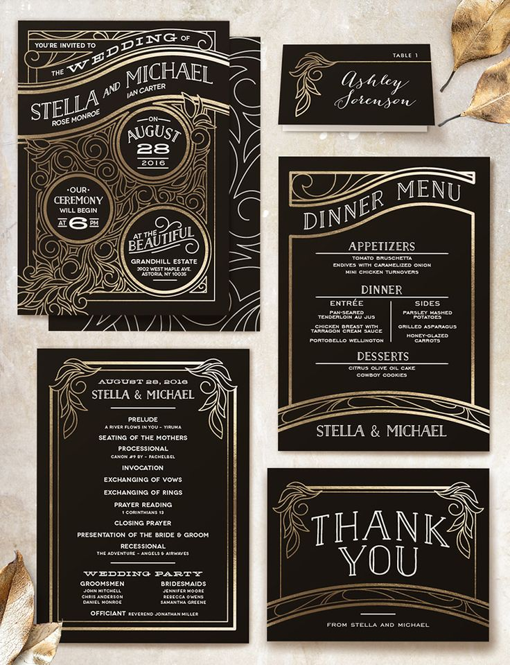 Art Deco inspired black and gold wedding invitations from Minted... PLUS A GIVEAWAY! (ends Nov 30 2014)