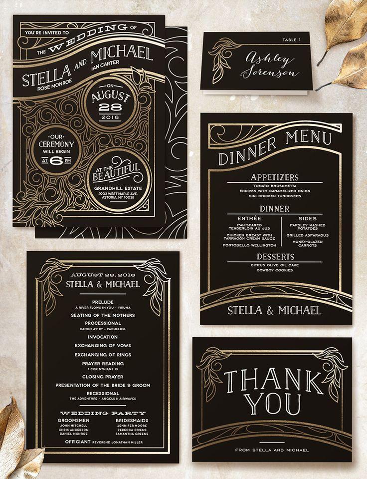 25+ best ideas about art deco wedding invitations on pinterest, Wedding invitations