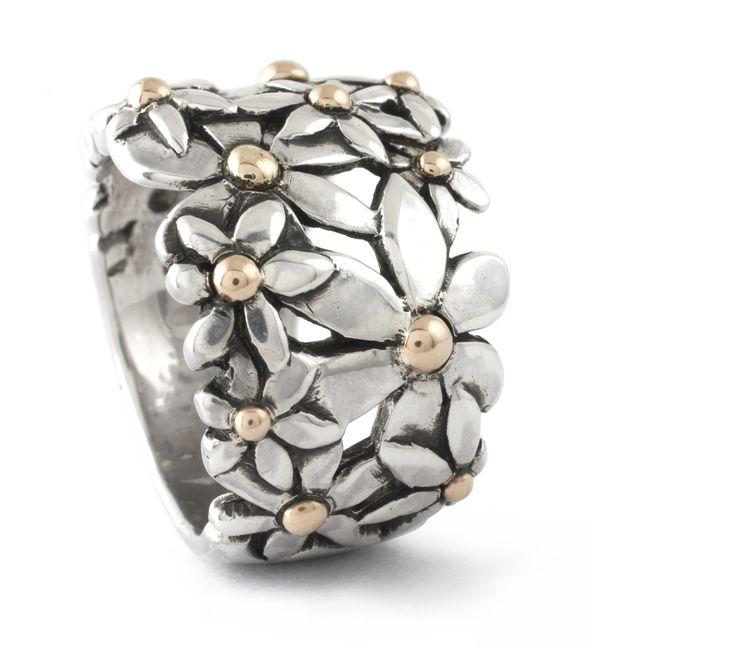 Handmade Argentium Silver & 9ct Yellow Gold Daisy Ring