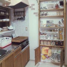 キッチン大改造計画中!/キッチン収納/キッチン雑貨/ダイソー/リメイクシート…などのインテリア実例 - 2016-05-26 00:01:39 | RoomClip(ルームクリップ)