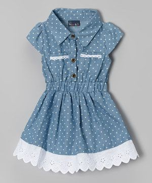 Sweet & Soft Light Blue Denim Polka Dot Dress - Infant & Toddler by Sweet & Soft #zulily #zulilyfinds