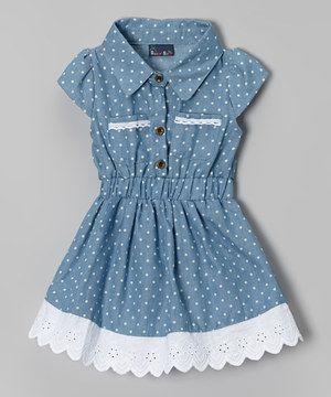 Sweet & Soft Light Blue Denim Polka Dot Dress - Infant & Toddler by Sweet & Soft #zulily #zulilyfinds