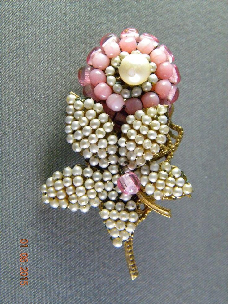 """Vintage Miriam Haskell Pink Flower with Pearls Brooch Pin """"as Is"""" 
