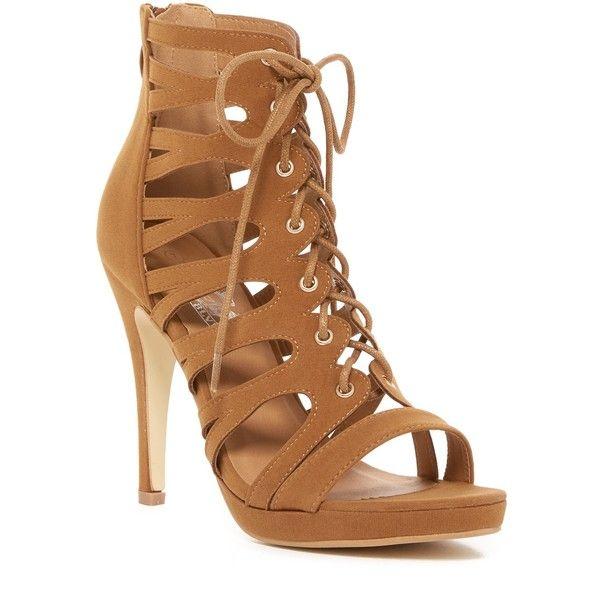 West Blvd Shoes Sade Platform Heel Sandal ($25) ❤ liked on Polyvore featuring shoes, sandals, tan suede, tan heeled sandals, caged heel sandals, lace up heeled sandals, caged platform sandals and high heel sandals