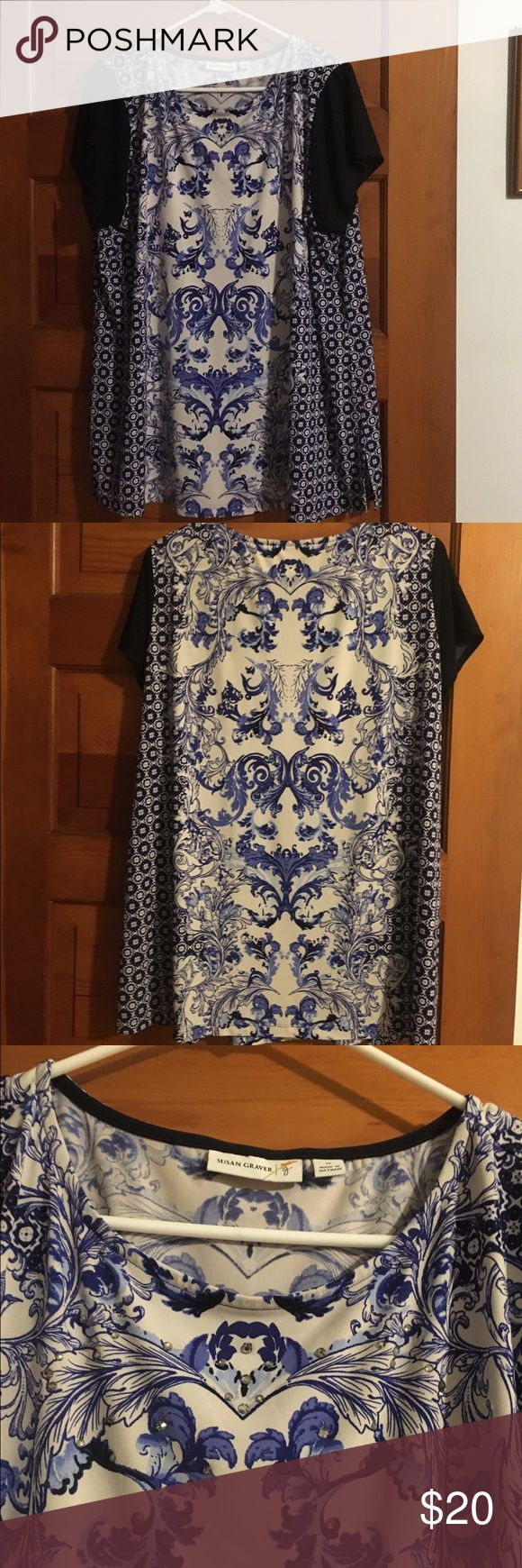 Susan Graver top This navy white/black Paisley design blouse is in like new condition. It has shinning diamond jewels on it in the front near neckline. It Is stretchy 95% polyester 5% spandex. Susan Graver Tops Blouses
