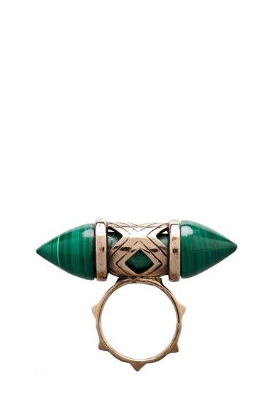 Pamela Love Cutout ring in Bronze/ Malachite